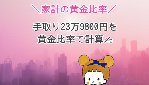 【家計の黄金比率】手取り23万9,800円。当てはめてみた結果